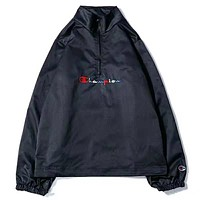 Champion Fashion New Bust Embroidery Letter And Back Letter Print Half Zipper Long Sleeve Women Men Top Windbreaker