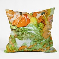 Rosie Brown Summer in Orange Outdoor Throw Pillow
