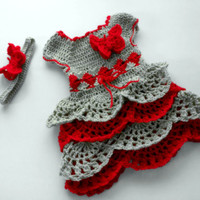 Crochet toddler dress and headband, grey red girl outfit, butterfly little girl dress, ruffle toddler outfit, first birthday dress, Easter