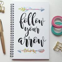 Writing journal, spiral notebook, sketchbook, diary, bullet journal, cute journal, arrows, blank lined or grid paper - Follow your arrow