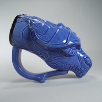 Skyrim Dragon Mug - Ice Blue Glaze - Beer Mug or Unique Coffee Mug for Sci- Fi Fans and Dragon Lovers