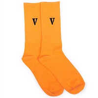 VLONE Couples tide brand male and female students in hip hop tube stockings Orange