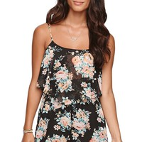 LA Hearts Double Overlay Romper - Womens Dress - Floral -