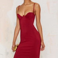 Rare London Monroe Midi Bodycon Dress - Burgundy
