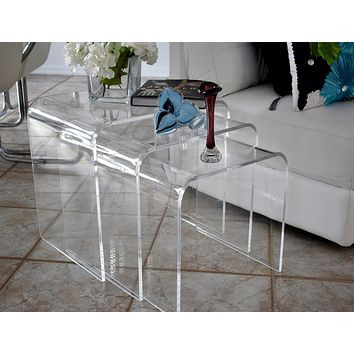 MCM Shlomi Haziza Lucite Acrylic Waterfall Nesting End Tables Great Mid Century Style