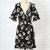 Black Floral Ruffled Wrap Dress-FINAL SALE