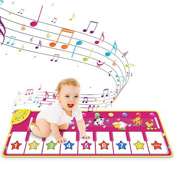RenFox Kids Musical Keyboard Piano Mat, Electronic Music Play Blanket with 8 Different Piano & Animal Sound for Early Education Toys Gift for Baby 18 Months to 3 Years Old (Purple)