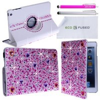 Leather Bling Case Bundle for iPad MINI including 1 Rotating Leather Case with Rhinestones / 2 Stylus Pens / 2 Screen Protectors / 1 Eco-Fused Microfiber Cleaning Cloth (Hot Pink Rhinestone)