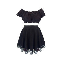 Black Magic Off the Shoulder Crop Top and High Waist Skirt