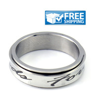 """Unisex Friend Gift - Spinner Friendship Ring Engraved with """"Forever Friends"""", Sizes 6 to 9"""