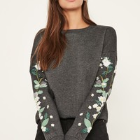 Missguided - Grey Floral Embroidered Sleeve Sweatshirt