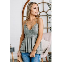 Flirting With Forever Strappy Lace Top | Olive