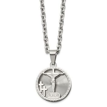 """Stainless Steel Polished Laser Cut Crucifix Pendant 24"""" Necklace"""