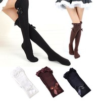 Fashion Women Girl Kawaii Lolita Cotton Cute Lace Bow Pantyhose Over knee Warm Boot Thigh High Stockings Winter Cosplay party