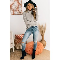 Loosen Up My Buttons Turtle Neck Top (Heathered Oatmeal)