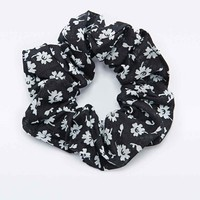 Floral Scrunchie in Black and White - Urban Outfitters