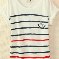 Navy Style Cute Strips T-shirt JLM324 from topsales