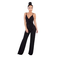 Women Summer Sexy Jumpsuits V neck Sleeveless Backless Long Flare Pants Jumpsuit Ladies Black White Rompers