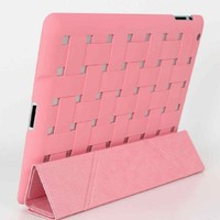 Bao Xin Design Weave Case For iPad/iPad mini with Smart Sleep/Wakeup Magnetic Cover, Multi-Angle Transformer Stand and Heat Dissipation Feature (iPad 2 3 4, Pink)