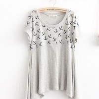 Fashion Anchor Pattern  Irregular Hem Short Sleeve T-shirts
