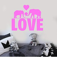 Vinyl Wall Decal Love Elephants Romantic Room Decor Stickers Unique Gift (ig4280)