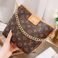 Hipgirls LV Fashion New Monogram Print Leather Shoulder Bag Crossbody Bag Bucket Bag Handbag