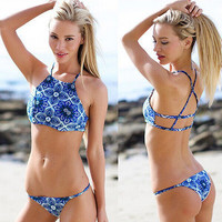 Blue Floral Geometric Print Halter Neck Back Cross Two Piece Swimsuit