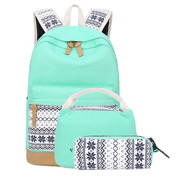 School Backpacks for Teen Girls Lightweight Canvas Backpack Bookbags Set (Light Green) 01 Light Green