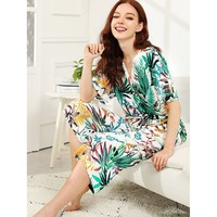 Tropical Print Wrap Pajama Set