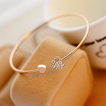 11.11 Sales! Fashion Crystal Double Heart Adjustable Opening Bracelet Charm Bridal Wedding Women Gold Jewelry Accessories