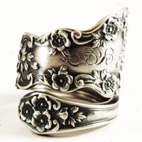Wedding Ring Alternative Buttercup Sterling Silver Spoon Ring Antique Gorham, Engrave SG, Handmade Gift with Custom Ring Size (5367)