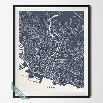 Genoa Print, Italy Poster, Genoa Street Map, Italy Map Print, Street Map Print, Office Art, Home Decoration, Wall Art, Back To School