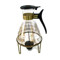 Mid Century Coffee Carafe Glass with Metal Candle Flame Warmer, Gold Bands, 60'd Home Decor