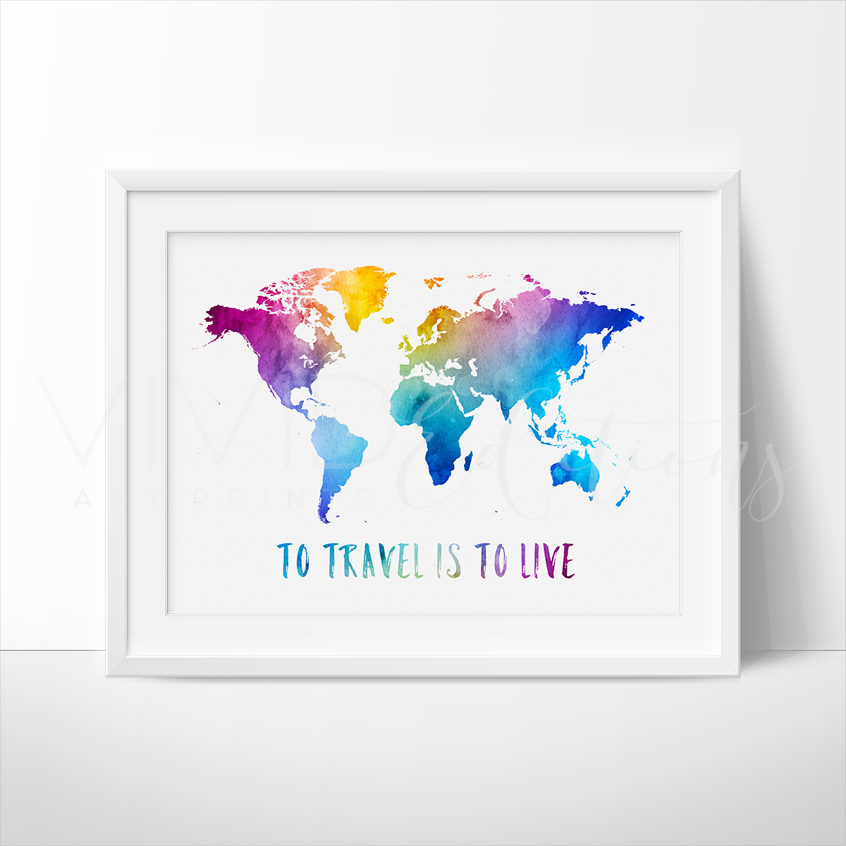 Image of To Travel Is To Live, Travel Quote World Map Watercolor Art Print