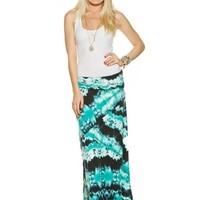 Pieced Tie Dye Maxi Skirt