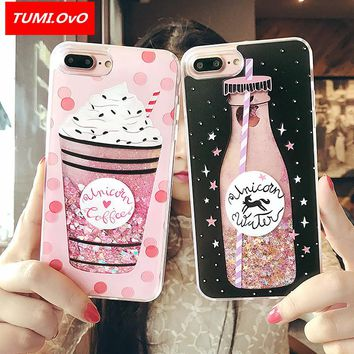 Cute Drink Bottle Ice Cream Glitter Star Dynamic Liquid Quicksand Phone Case For iPhone 5 5S 5SE 6 6S 7 8 Plus X Cases