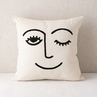 Winky Embroidered Pillow | Urban Outfitters