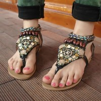 Bohemian Beaded Flat Sandals for Summer
