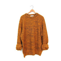 Loose Knit Boyfriend Sweater Orange Black Marled Knit CHUNKY Sweater 80s Retro Slouchy Pullover Basic Crewneck Sweater Shirt Womens Large XL