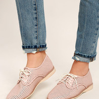 Rollie Derby Punch Chalk Pink Perforated Leather Oxfords