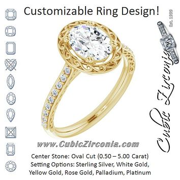Cubic Zirconia Engagement Ring- The Montserrat  (Customizable Oval Cut Halo Design with Filigree and Accented Band)