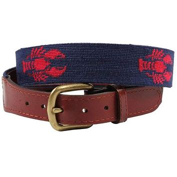 Lobster Needlepoint Belt in Dark Navy by Smathers & Branson