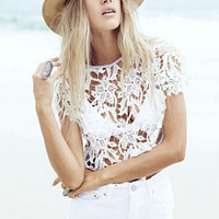 Hollow Out Lace Patchwork T-Shirt B005607
