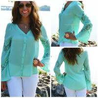 Crystal Creek Mint Long Sleeve Button Top