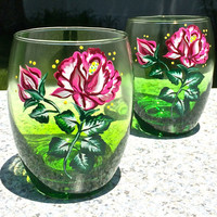 Painted Ombre Green Stemless Wine Glasses, Wedding Gift, Birthday Gift, Anniversary Gift, Entertaining, Pink Rose Glasses, Unique Gifts