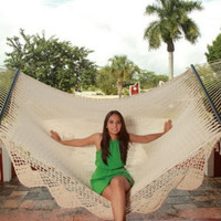 Comfortable American Deluxe Style Hand Woven Mayan Hammock with Crochet Fringe