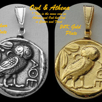For Percy Jackson Fans, (Mark of Athena)  Owl & Athena, Most Famous Greek Coin Pendant
