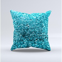 Turquoise Glimmer  Ink-Fuzed Decorative Throw Pillow