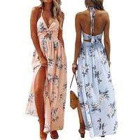 Missufe Floral Print Halter Boho Summer Long Dress Women Sexy Backless Maxi Dress Casual Party Tunic High Split Beach Dresses