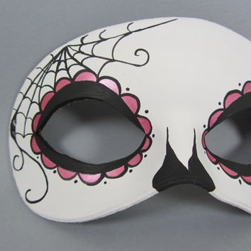 Pink Day of the Dead Side Spiderweb Leather Mask